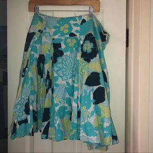 Beautiful flower blue, white and green skirt